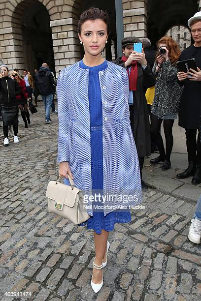 Lucy Mecklenburgh seen arriving at Somerset House on February 20 2015 in London England