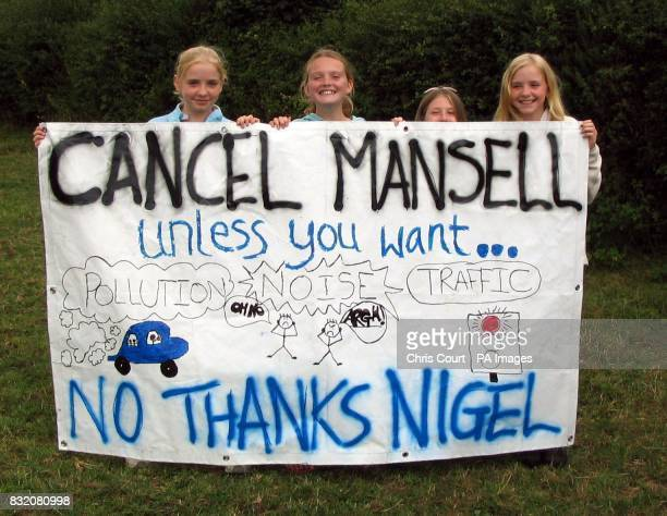 Lucy Miller Hazel Ferrell Olivia Bradbeer and Venetia Miller all 12 with their poster as village dwellers gathering in Dunkweswell east Devon for a...