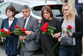 Lucy Powell MP Jeff Smith MP Paula Sheriff MP and Karen Rawling arrive to leave floral tributes close to where Jo Cox MP was murdered on June 17 2016...