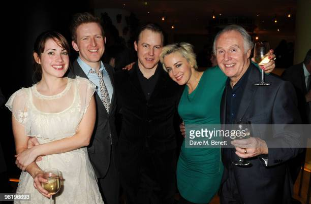 Lucy Prebble Tom GoodmanHill Samuel West Amanda Drew and Tim PigottSmith attend the afterparty following the press night of 'Enron' at Asia de Cuba...