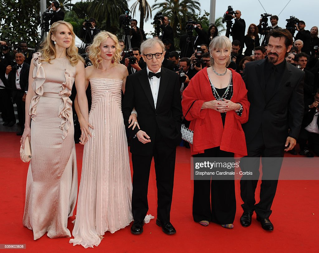Lucy Punch, Naomi Watts, Woody Allen, Gemma Jones and Josh Brolin at the Premiere for 'You will meet a tall dark stranger' during the 63rd Cannes International Film Festival.