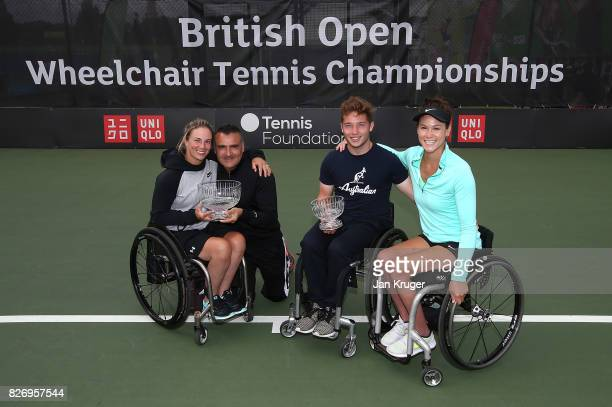 Lucy Shuker of Great Britain and partner Stephane Houdet of France pose with runners up Alfie Hewett of Great Britain and Dana Mathewson of United...