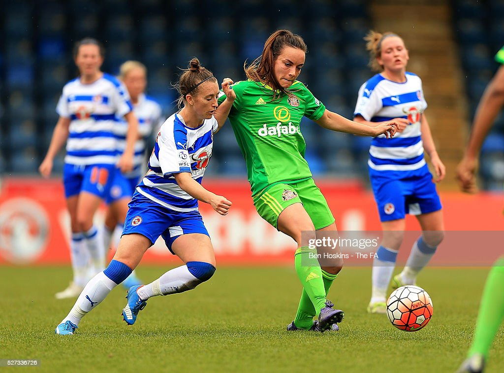 Lucy Staniforth of Sunderland holds off pressure from Amber Stobbs of Reading during the WSL 1 match between Reading FC Women and Sunderland AFC Ladies on May 2, 2016 in High Wycombe, England.