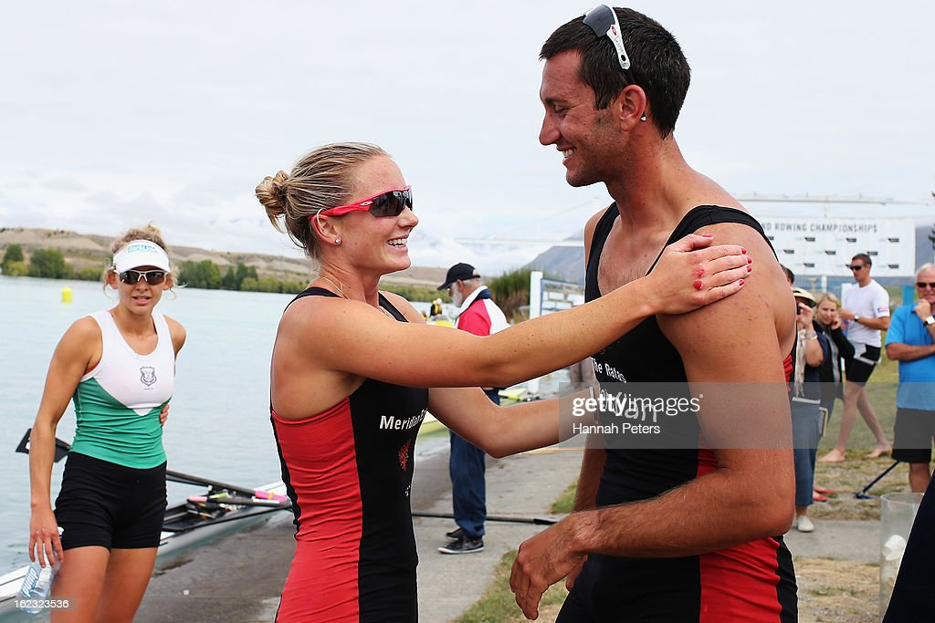 Lucy Strack of Southern celebrates with Jade Uru of Southern after winning the Lightweight Women's 1X final during the New Zealand Rowing...