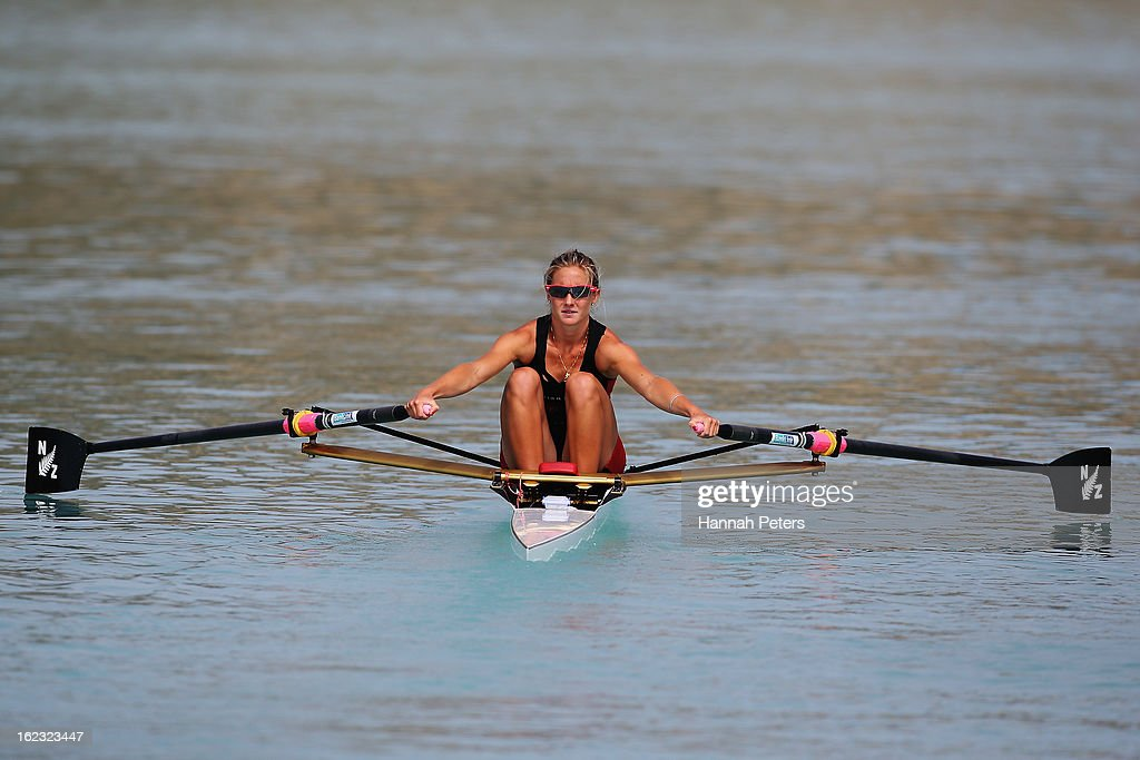 Lucy Strack of Southern cools down after winning the Lightweight Women's 1X final during the New Zealand Rowing Championships at Lake Ruataniwha on February 22, 2013 in Twizel, New Zealand.