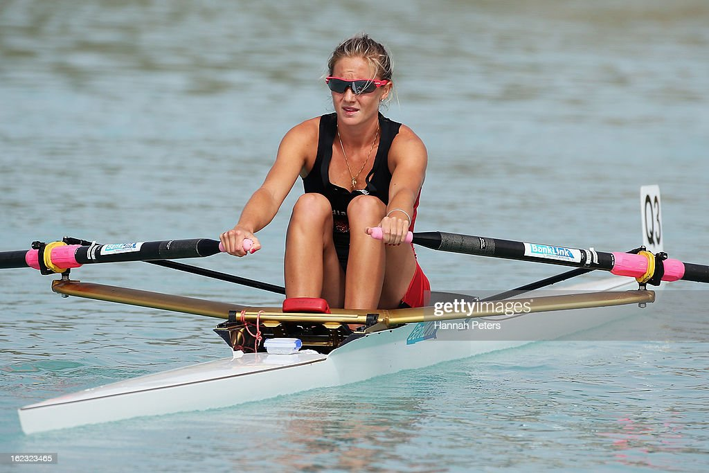 Lucy Strack of Southern cools down after winning the Lightweight Women's 1X final during the New Zealand Rowing Championships at Lake Ruataniwha on...