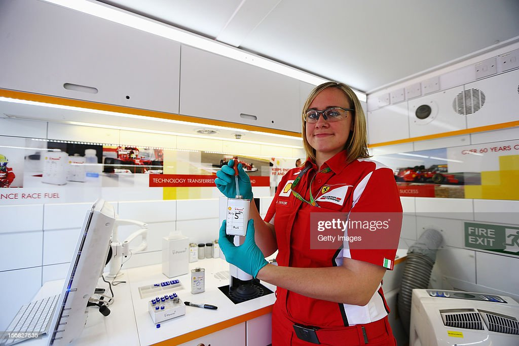 Lucy Taylor of Shell is seen in the Shell Track Laboratory during previews for the Brazilian Formula One Grand Prix at the Autodromo Jose Carlos Pace on November 22, 2012 in Sao Paulo, Brazil.