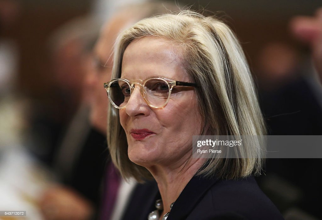 <a gi-track='captionPersonalityLinkClicked' href=/galleries/search?phrase=Lucy+Turnbull&family=editorial&specificpeople=240445 ng-click='$event.stopPropagation()'>Lucy Turnbull</a> looks on as her husband Prime Minister Malcolm Turnbull delivers his election address to the National Press Club on June 30, 2016 in Canberra, Australia. The Prime Minister's speech focused heavily on the economy, with Malcolm Turnbull committing to stick to the Government's economic plan, grow the economy and create jobs should he win the election on Saturday July 2.