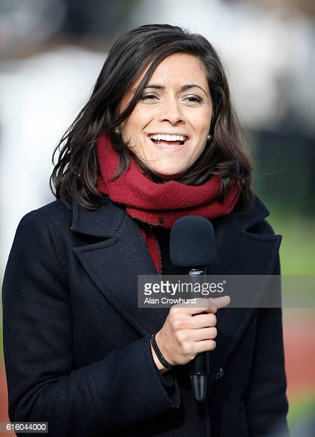 Lucy Verasamy reporting on the weather for ITV Racing at Cheltenham Racecourse on October 21 2016 in Cheltenham England