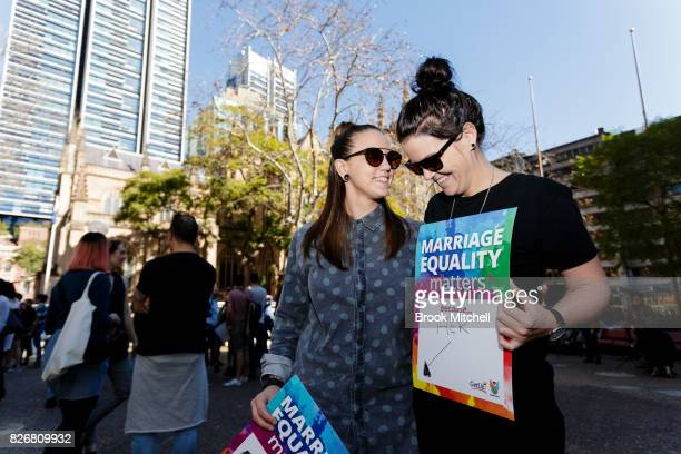Lucy Wade and Kelly Delvin a couple of three years at Sydney Town Hall on August 6 2017 in Sydney Australia The pair hope to win the right to marry...