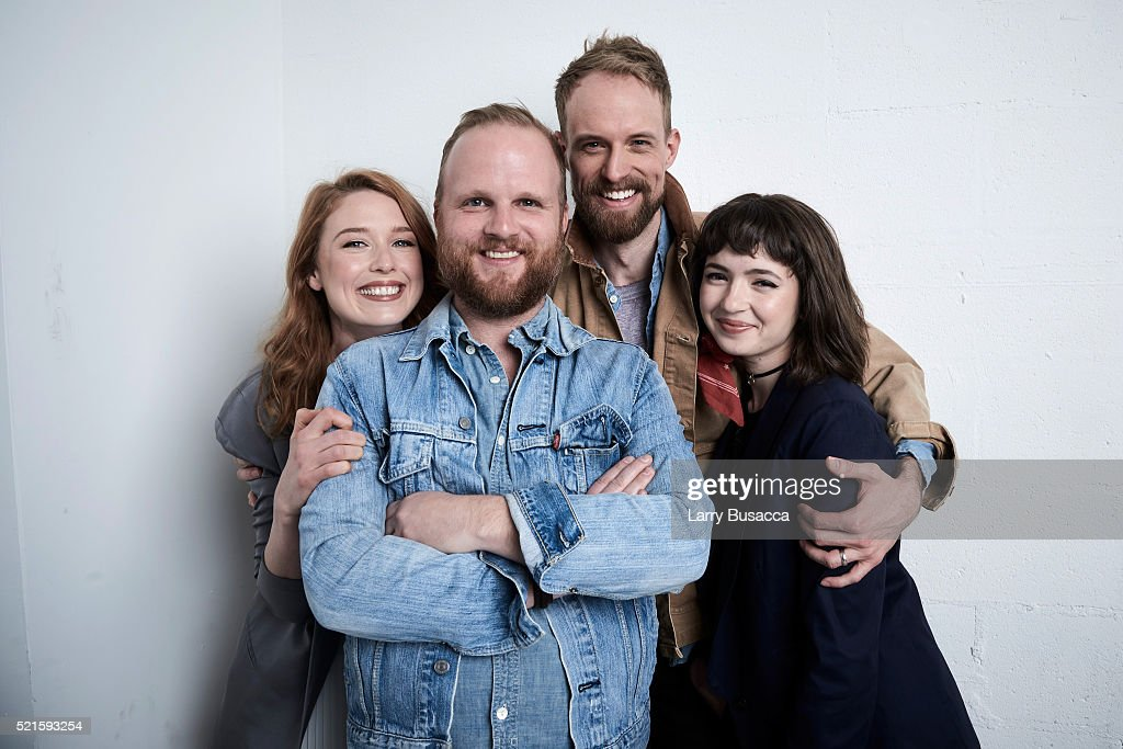 Lucy Walters Rod Blackhurst Adam David Thompson and Gina Piersanti from 'Here Alone' pose at the Tribeca Film Festival Getty Images Studio on April...