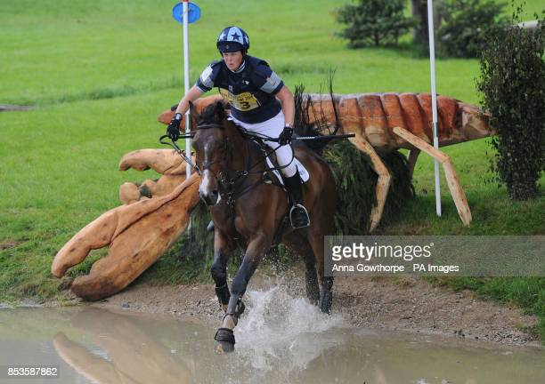 Lucy Wiegersma riding Mr Chunky competes in the CCI3* cross country event during the Bramham International Horse Trials at Bramham Park West Yorkshire