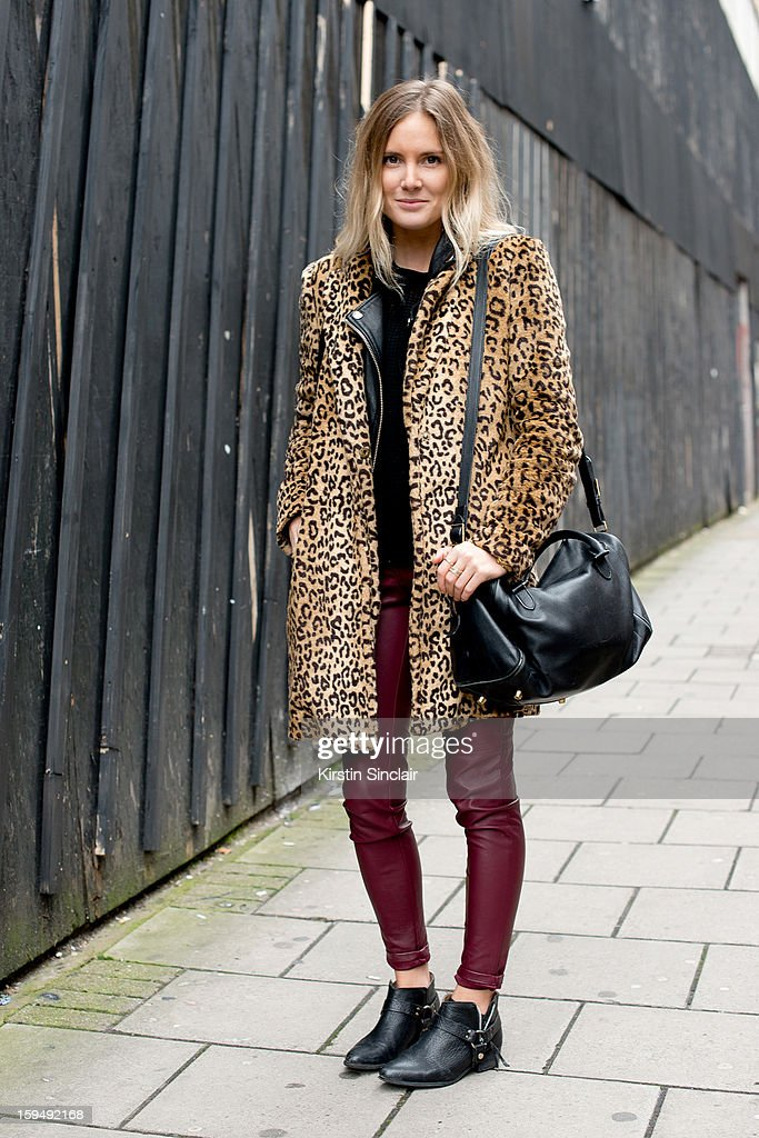 Lucy Williams Fashion Researcher and Blogger at Stylus media group wearing Zara boots, H and M jeans, Mango jacket, Cos sweater, H and M leather gilet, Celine bag on day 1 of London Mens Fashion Week Autumn/Winter 2013, on January 07, 2013 in London, England.