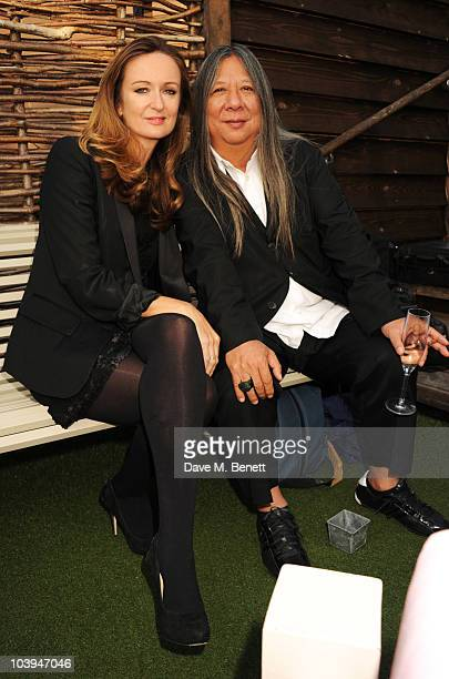 Lucy Yeomans and John Rocha attend the BFC/Bazaar Fashion Arts Foundation launch party at Shoreditch House on September 9 2010 in London England