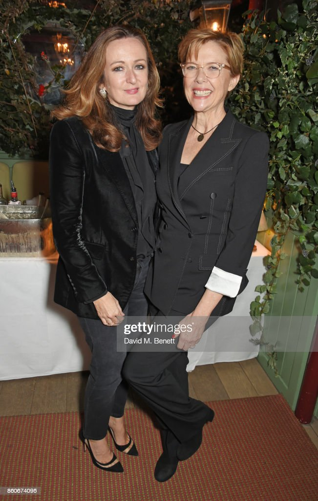 Lucy Yeomans, Editor-in-Chief of PORTER magazine, and Annette Bening attend the PORTER & Lionsgate UK after party for 'Film Stars Don't Die In Liverpool' at Mark's Club on October 12, 2017 in London, England.