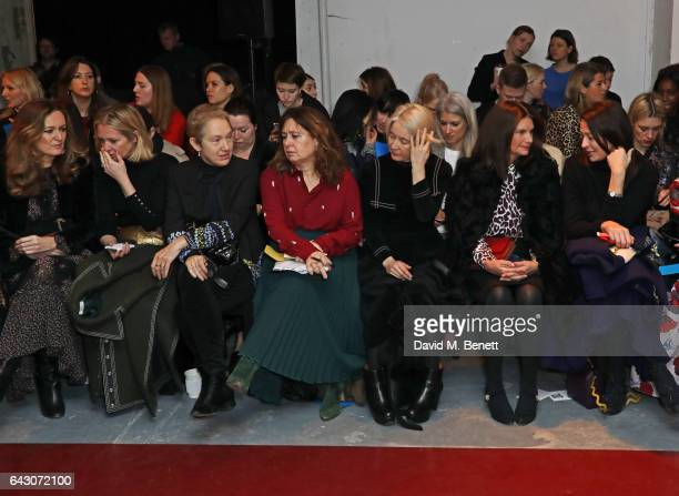Lucy Yeomans Kate Reardon Justine Picardie Alexandra Shulman Justine Simons Dame Natalie Massenet and Caroline Rush attend the Roksanda show during...