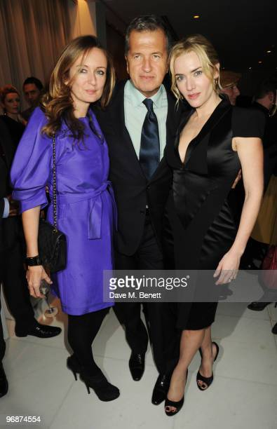 Lucy Yeomans Kate Winslet and Mario Testino attend the Lancome and Harper's Bazaar PreBAFTA Party cohosted by actress Kate Winslet at St Martin's...