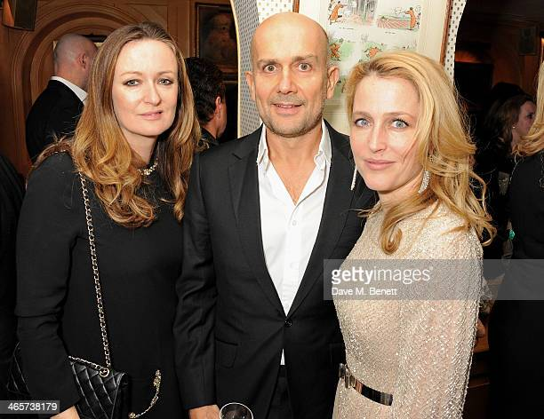Lucy Yeomans Marc Quinn and Gillian Anderson attend the Charles Finch and Chanel PreBAFTA cocktail party and dinner at Annabel's on February 8 2013...