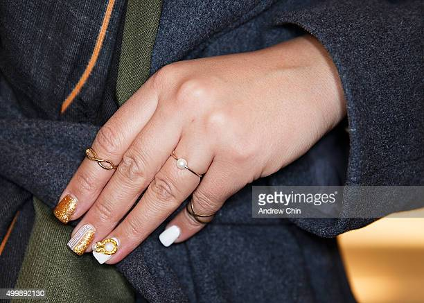 Lucy Yun fashion detail attend Versace Vogue celebrate the launch of Versace Vancouver Boutique on December 3 2015 in Vancouver Canada