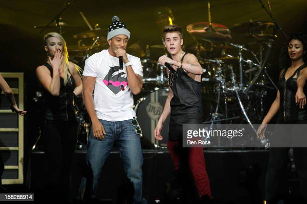 Ludacris and Justin Bieber perform onstage during Power 961's Jingle Ball 2012 at the Philips Arena on December 12 2012 in Atlanta