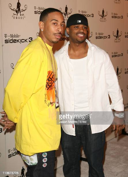 Ludacris and Larenz Tate during TMobile Sidekick 3 DWade Edition launch Red Carpet at The Palms in Las Vegas California United States