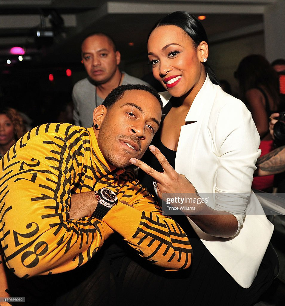 Ludacris and Monica attend the So So Def anniversary party hosted by Jay Z at Compound on February 23, 2013 in Atlanta, Georgia.