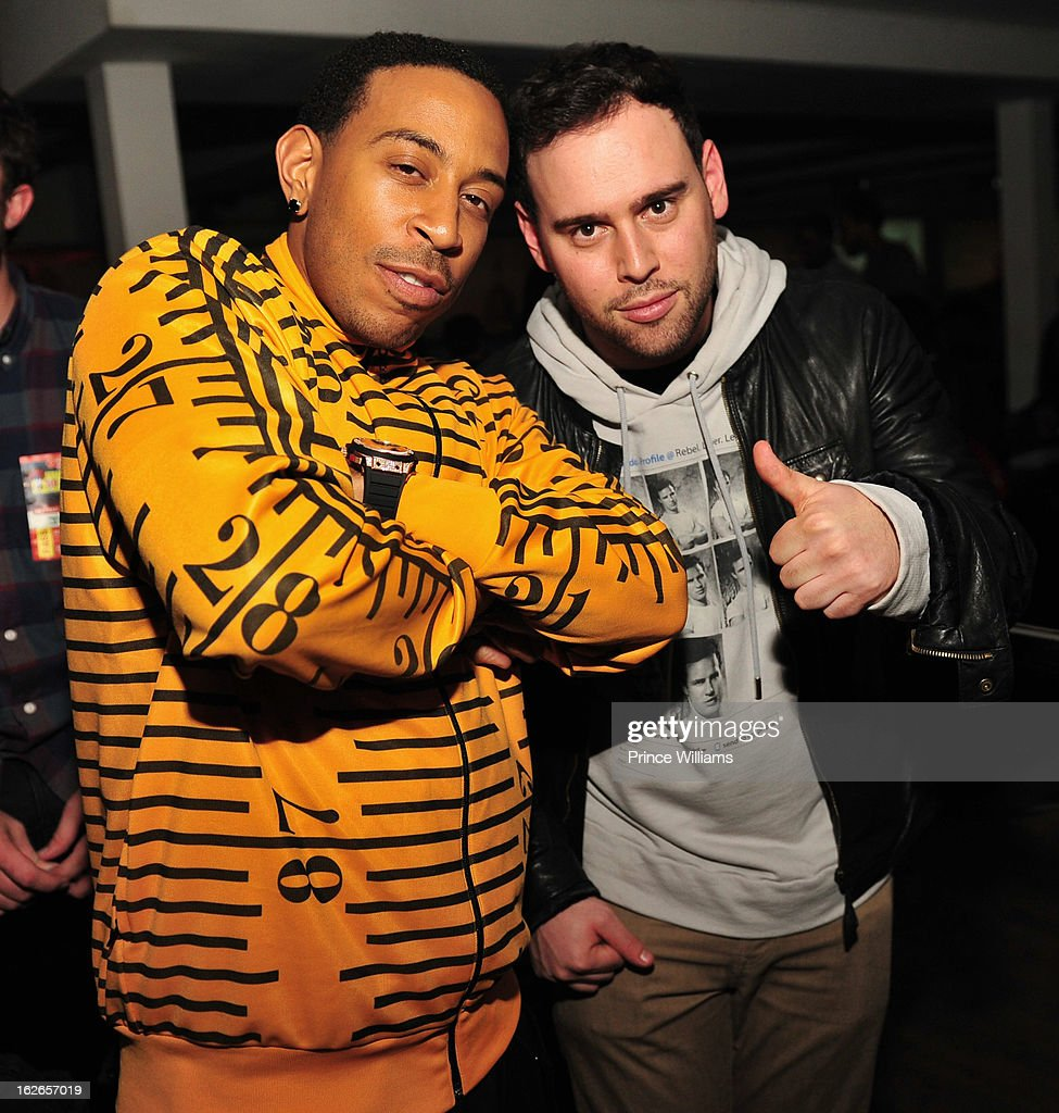 Ludacris and Scooter Braun attend the So So Def anniversary party hosted by Jay Z at Compound on February 23, 2013 in Atlanta, Georgia.