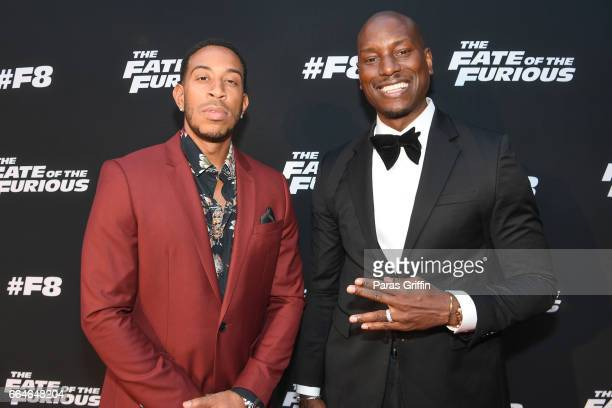 Ludacris and Tyrese Gibson attend 'The Fate Of The Furious' Atlanta red carpet screening at SCADshow on April 4 2017 in Atlanta Georgia