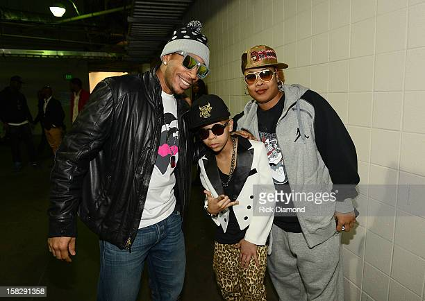Ludacris Key Swag 3000 and Da Brat pose backstage at Power 961's Jingle Ball 2012 at the Philips Arena on December 12 2012 in Atlanta