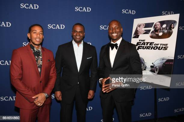 Ludacris Mayor of Atlanta Kasim Reed and Tyrese Gibson attend 'The Fate Of The Furious' Atlanta red carpet screening at SCADshow on April 4 2017 in...