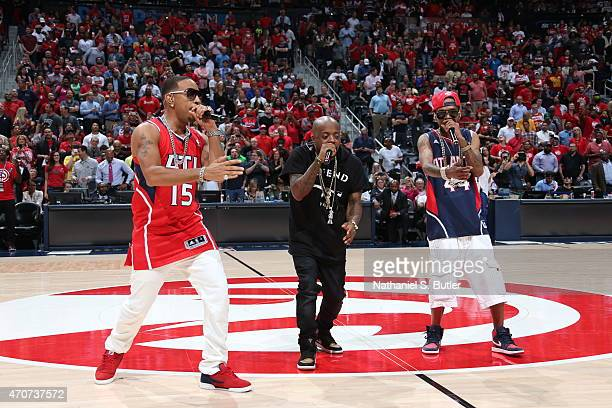 Ludacris performs at halftime of Game Two of the Eastern Conference Quarterfinals between the Atlanta Hawks and the Brooklyn Nets during the 2015 NBA...