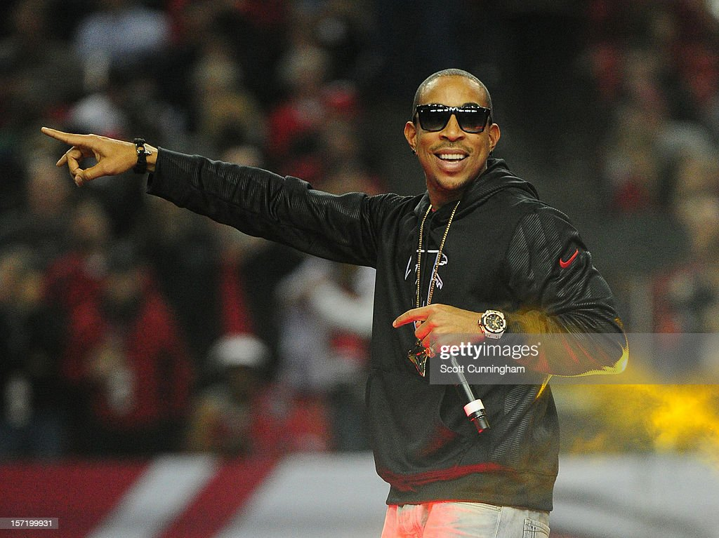 Ludacris performs during halftime of the game between the New Orleans Saints and the Atlanta Falcons at the Georgia Dome on November 29, 2012 in Atlanta, Georgia