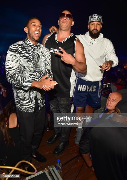 Ludacris Vin Diesel and Kenny Burns attend the Luda birthday celebration at Compound on September 3 2017 in Atlanta Georgia