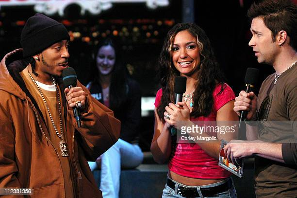 Ludacris with Fuse VJs Marianela and Steven during Ludacris Visits Fuse's 'Daily Download' December 6 2004 at Fuse Studios in New York City New York...
