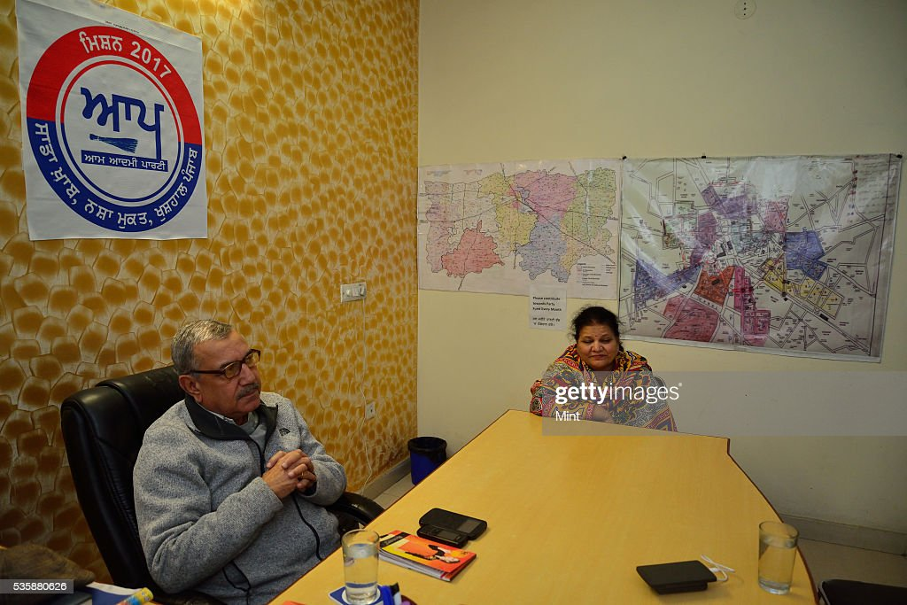 Ludhiana zone coordinator Col CM Lakhanpal at Aam Aadmi Party office located at BRS Nagar, on December 16, 2015 in Ludhiana, India. Punjab will go to the Assembly polls next year. What conventionally has been a two-sided contest between BJP-SAD and Congress is now set to turn into a triangular electoral fight by entry of Aam Aadmi Party.