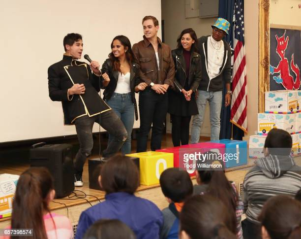 Ludi Lin Becky G Dacre Montgomery Naomi Scott and RJ Cyler attend a Saban's Power Rangers 'Give Day' Event with Yoobi School Supplies Donation on...