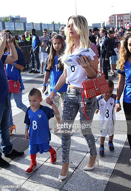 Ludivine Payet and her sons attend Noa Payet and Milan Payet attend the UEFA Euro 2016 final between Portugal and France at Stade de France on July...