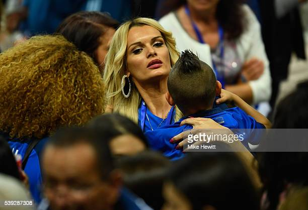 Ludivine Payet the wife of Dimitri Payet of France attends the UEFA Euro 2016 Group A match between France and Romania at Stade de France on June 10...