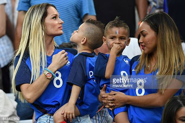 Ludivine Payet the wife of France's forward Dimitri Payet arrives for the start of the Euro 2016 semifinal football match between Germany and France...