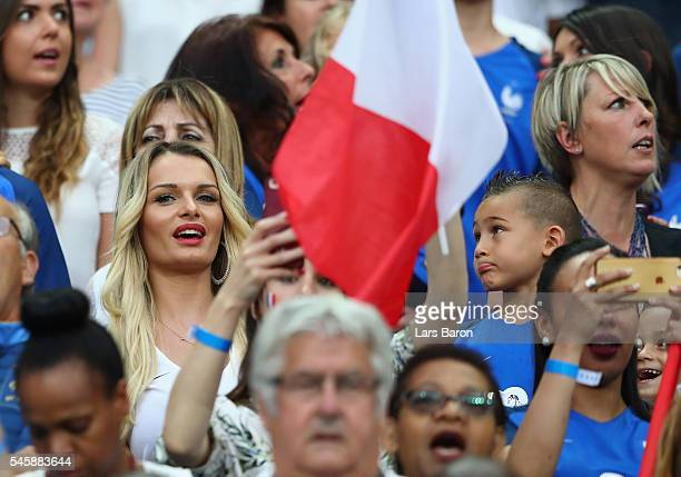Ludivine Payet wife of Dimitri Payet of France is seen prior to the UEFA EURO 2016 Final match between Portugal and France at Stade de France on July...