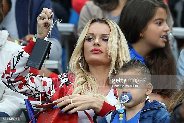 Ludivine Payet wife of Dimitri Payet of France looks on during the UEFA Euro 2016 Quarter Final match between France and Iceland at Stade de France...