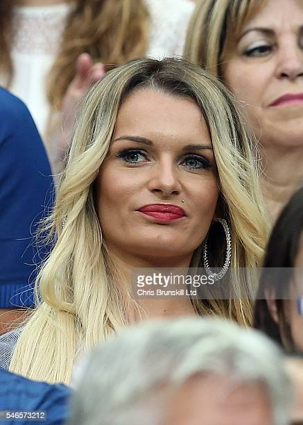 Ludivine Payet wife of Dimitri Payet of France looks on during the UEFA Euro 2016 Final match between Portugal and France at Stade de France on July...