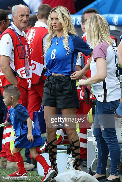 Ludivine Payet wife of Dimitri Payet of France looks on following the UEFA EURO 2016 round of 16 match between France and Republic of Ireland at...