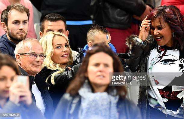 Ludivine Payet wife of France's forward Dimitri Payet attends the friendly football match France vs Spain on March 28 2017 at the Stade de France...