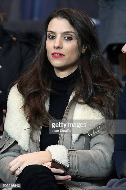 Ludivine Sagna wife of Bacary Sagna attends the French Cup match between Paris SaintGermain and Olympique Lyonnais at Parc des Princes stadium on...