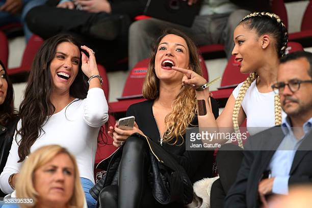 Ludivine Sagna wife of Bacary Sagna Camille Sold girlriend of Morgan Schneiderlin of France Sephora Coman wife of Kingsley Coman attend the...