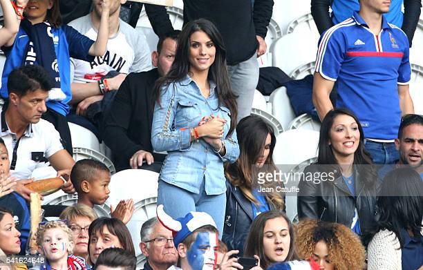 Ludivine Sagna wife of Bacary Sagna Marine Lloris wife of Hugo Lloris Jennifer Giroud wife of Olivier Giroud attend the UEFA EURO 2016 Group A match...