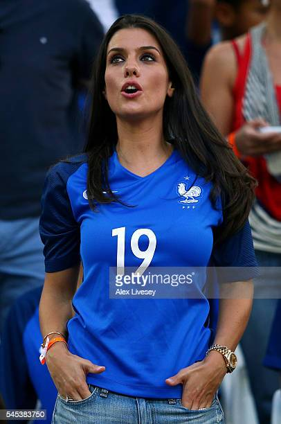 Ludivine Sagna wife of Bacary Sagna of France is seen in the stand is seen prior to the UEFA EURO semi final match between Germany and France at...