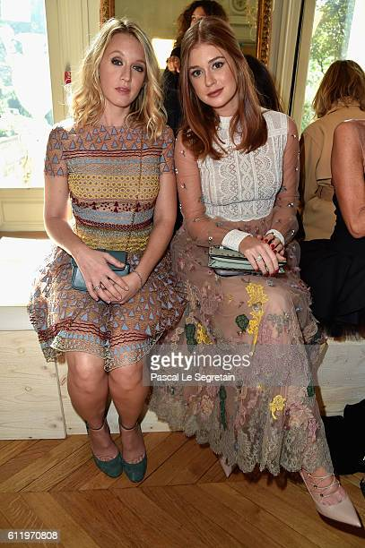 Ludivine Sagnier and Marina Ruy Barbosa attend the Valentino show as part of the Paris Fashion Week Womenswear Spring/Summer 2017 on October 2 2016...