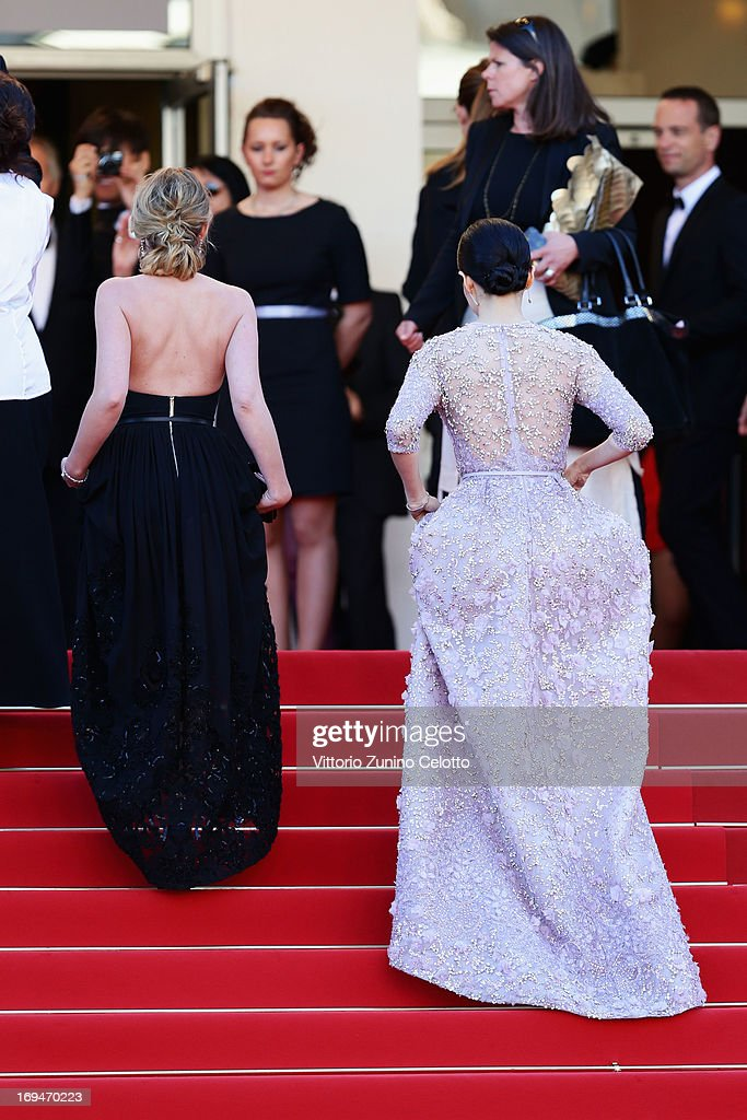 Ludivine Sagnier and Zhang Ziyi arrive at 'Venus In Fur' Premiere during the 66th Annual Cannes Film Festival at Grand Theatre Lumiere on May 25, 2013 in Cannes, France.